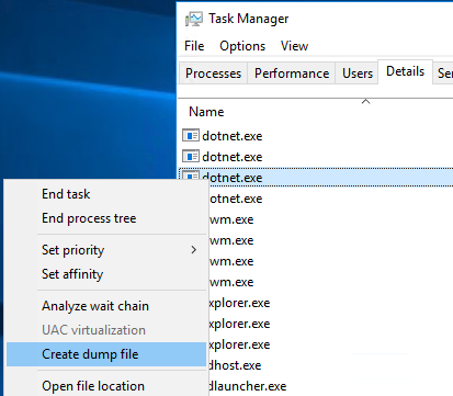Right click in Task manager Details tab to create dump file