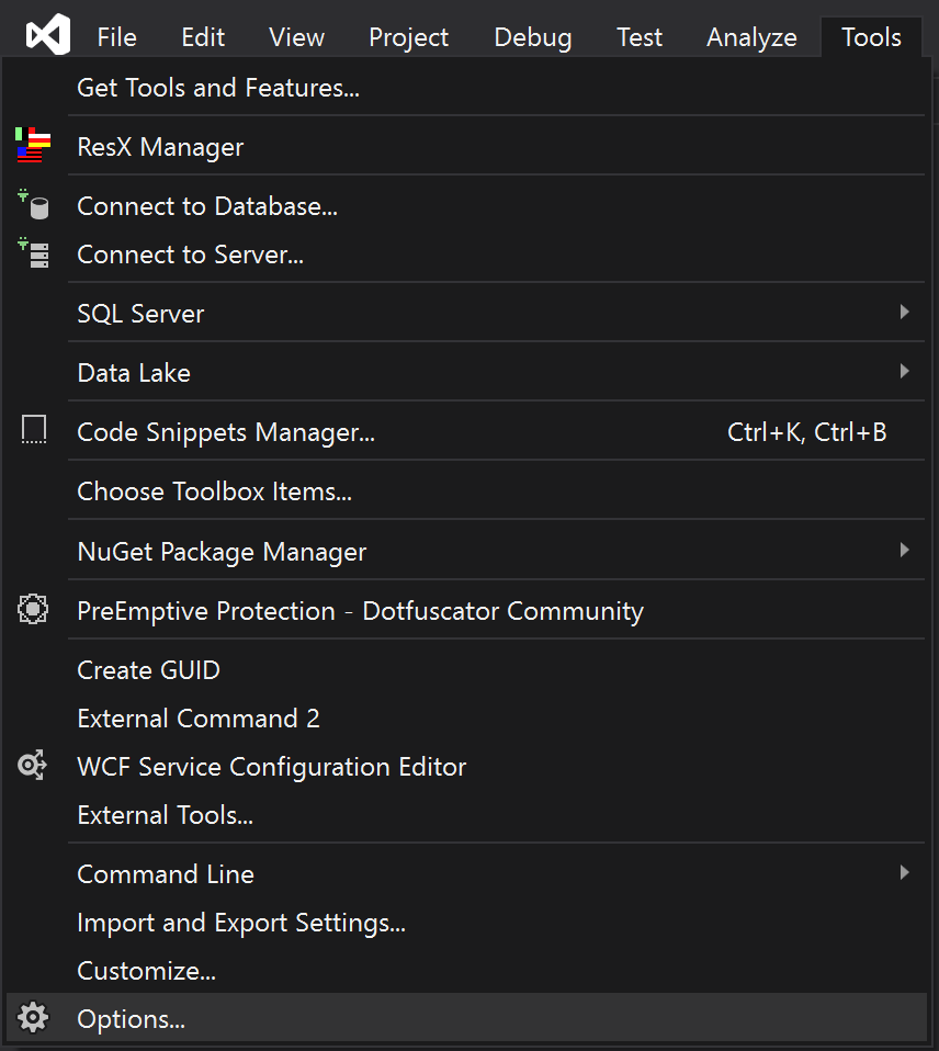 Visual Studio Tools menu with Options selected